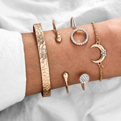 Geometric Moon Bracelet Set Bangle Bracelet Chain Gifts for Birthday