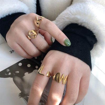Gold Adjustable Alphabet RIng Stackable RIngs