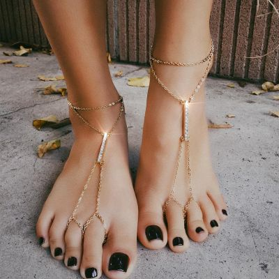 Gold Boho Ankle Chain Rhinestones Ankle Bracelet Toe Ring