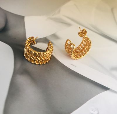 Gold Circle Chain Vintage Brass Metal Hoop Earring