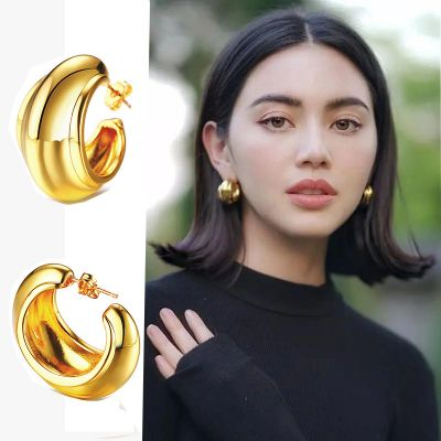 Gold Copper Hoop Earrings
