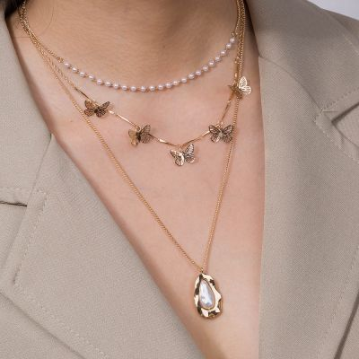 Gold Fashion Layer Pearl Butterfly Necklace Chain for Party