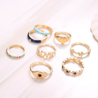 Gold Heart Midi Ring Rhinestones Devil Eyes Rings Set 8 Pcs