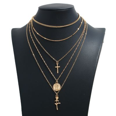 Gold Layering Necklace Vintage Cross Coin Pendants Chain Necklace