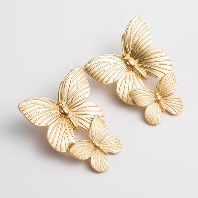 Gold Metal Butterflies Wedding Earring