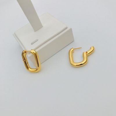 Gold Metal Oval Hoop Earring