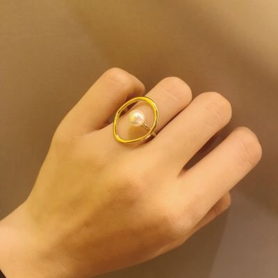 Gold Metal Pearl Adjustable Ring