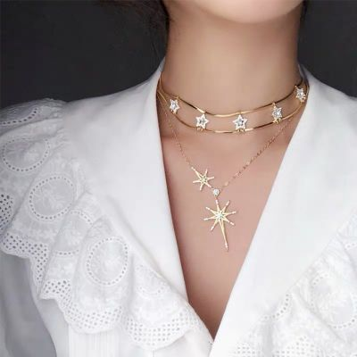 Gold Rhinestones Stars Layer Collarbone Necklace for Party
