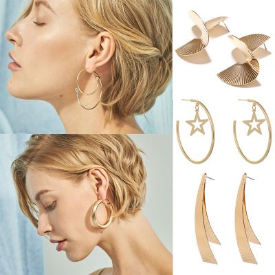 Gold Trendy Star Hoop Earring Geometric Earrings for Work