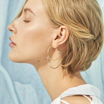 Gold Trendy Star Hoop Earring Geometric Earrings for Work