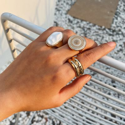 Gold Vintage Geometric Ring Set Stackable Ring