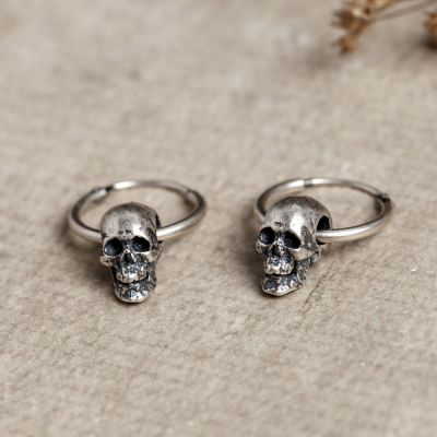 Goth Series Anti - allergic Skull Hoop Earrings