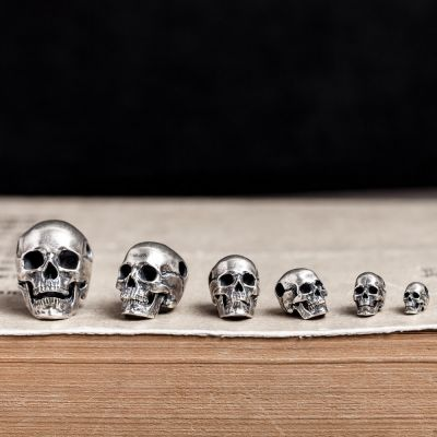 Goth Series S925 Sterling Silver Punk Retro Skull Pendant Necklace Set 6-Pack