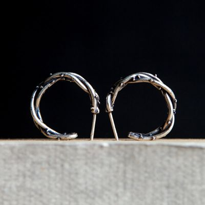 Gothic Branch Hoop Earrings Retro Silver Punk Earrings