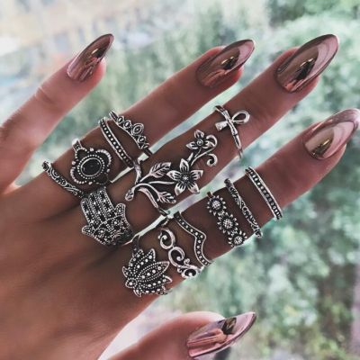 Gothic Flower Multilayer Ring Set 12-Pcs Midi Rings