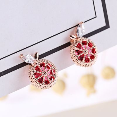 Grapefruit Zircon Fruit Stud Earrings Cute Cip-on Earring
