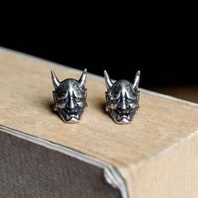 Haunted Night Vintage Sterling Silver Skull Ear Studs