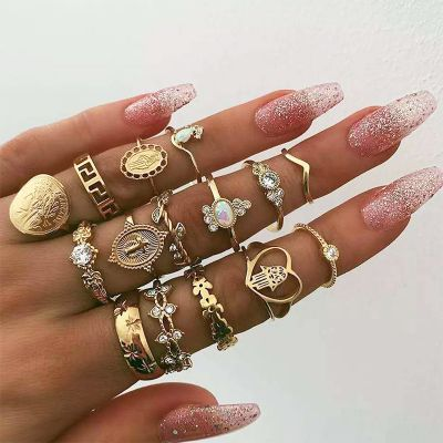 Heart Midi Ring Rhinestones Bohemia Ring Set 15 PC