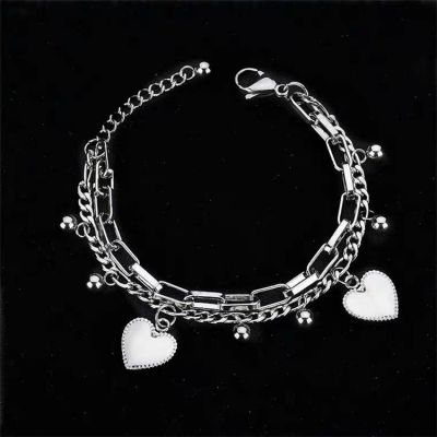 Hearts Charm Layered Bracelet Chain in Silver