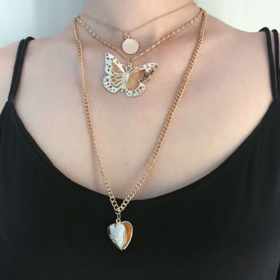Hollow-out Butterfly Heart Drop Multilayer Necklace Boho Necklace