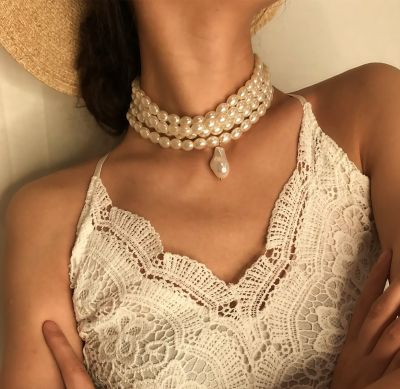Layered Pearl Necklace Charm Wedding Necklace