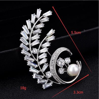 Leaf Zircon Brooch Suit Pins for Work