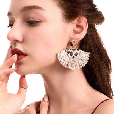 Leopard PU Earrings Fan Tassel Drop Fashion Earrings