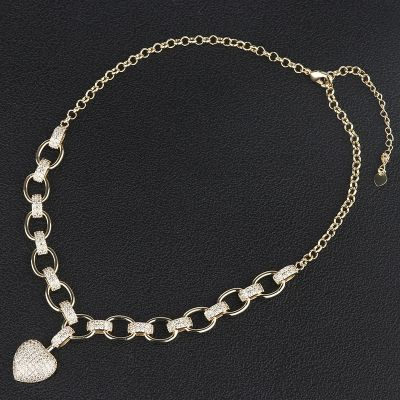 Luxury Gold-plated Heart Pendant Rhinestones Necklace