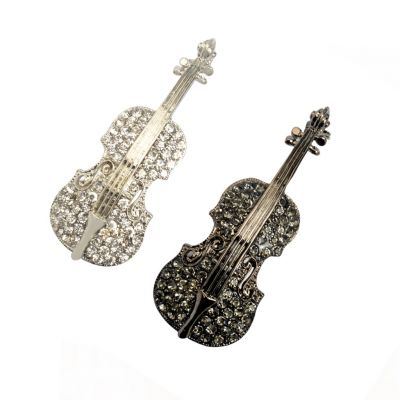 Luxury Violin Rhinestones Women Pins Brooch