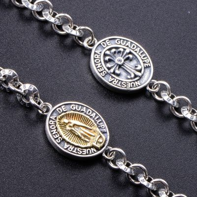Madonna Charm 925 Silver Chain Bracelets for Women&Men