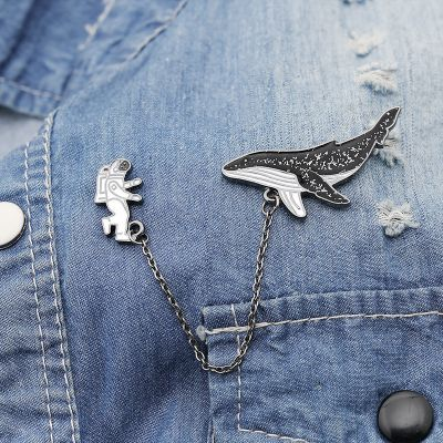 Metal Spaceman and Whale Collar Pin Chain Brooch