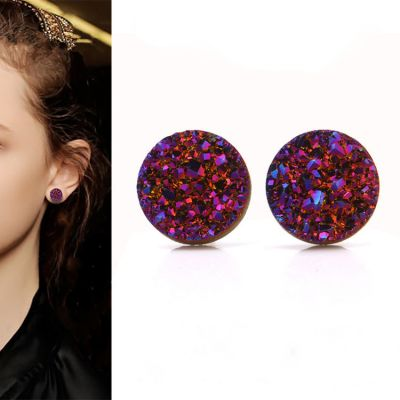 Mineral Crystal S925 Pins Stud Earrings 10mm Earrings for Woman&Man