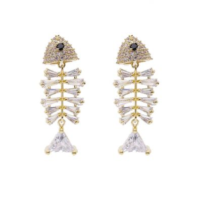 Mini Fish Bone Earrings with S925 Stud Earring Clips