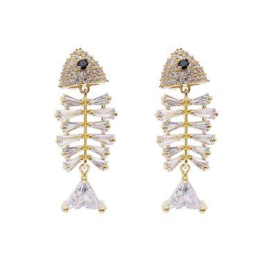Mini Fish Bone Earrings with S925 Stud Earring Clips
