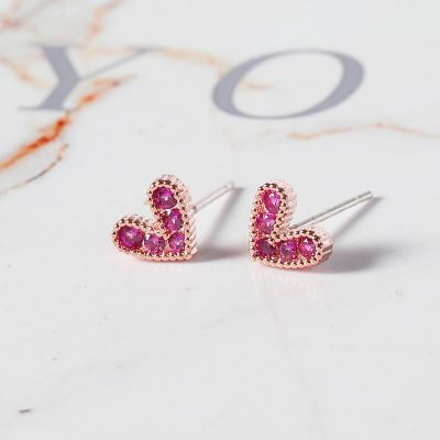 Mini Heart Crystals Clear Stud Earrings Clip on Earring for Date