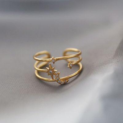 Moon Stars Rhinestone Stackable Ring Cute Bridal Ring