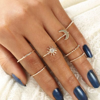Moon&Sun Simple Rings Layered Twist Midi Ring 7 Pcs