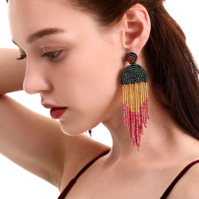 Multicolor Beaded Fringe Drop Earring Trendy Chandelier Earrings