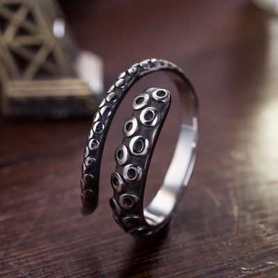 Octopus Claw Steampunk Adjustable Silver Ring