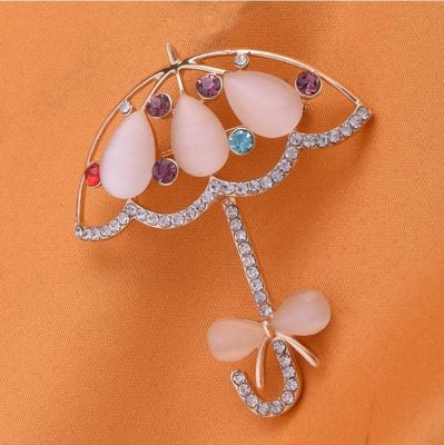 Opal Rhinestones Umbrella Brooches Bowknot Cute Pins