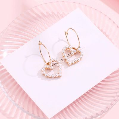 Pearl Heart Drop Dangle Earrings Earring GIfts for Daughter Girlfriend