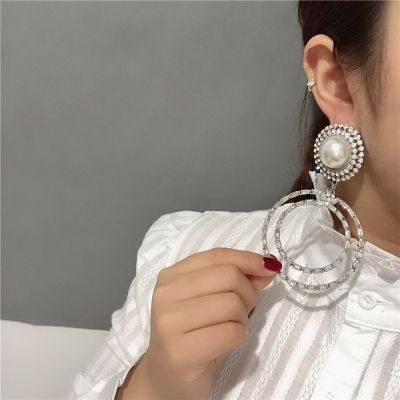 Pearl Rhinestones Dangle Earrings Bridal Statement Earring