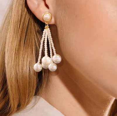 Pearl Tassels Piercing Earring as Jewelry Gifts for Woman