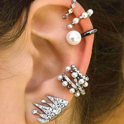 Pearls Crown Clip-on Earrings Boho Huggie Hoop 9 Pack