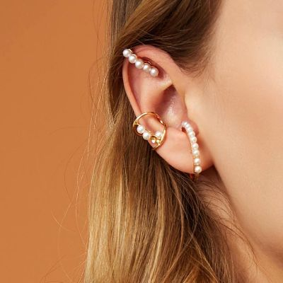 Pearls Cute Ear Clip Bridal Earrings 3 Pack