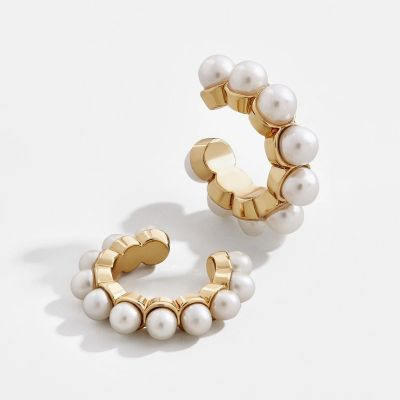 Pearls Geometric Ear Clip Hoop Earrings Bridal Earring