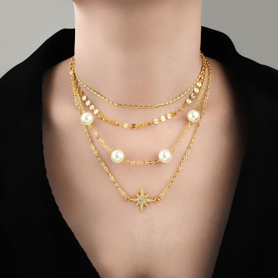 Pearls Star Pendants Multilayer Necklace for Travel