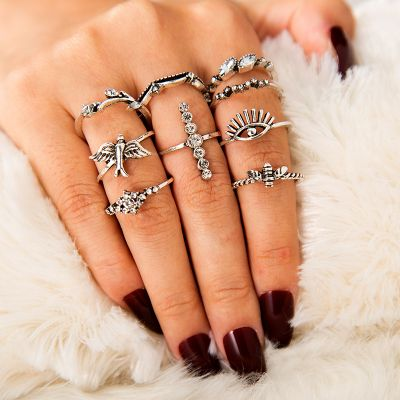 Punk Bee and Devil Eyes Layer Ring Midi Ring Set 9 Pack