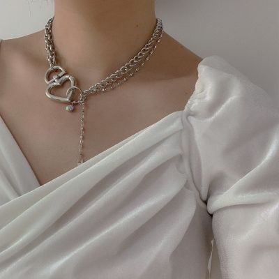 Punk Heart Choker Party Chunky Chain Necklace in Silver