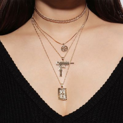 Punk Rhinestone Cross Pendants Layered Statement Necklace Choker
